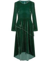 Maje Remanio Layered Velvet Midi Dress Forest Green