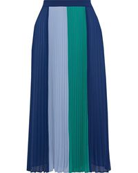 Iris & Ink Clementine Pleated Color-block Crepe De Chine Midi Skirt Navy - Blue