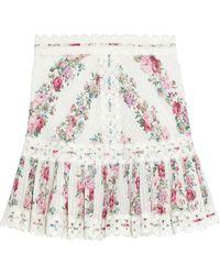 Zimmermann Honour Crochet-trimmed Pintucked Floral-print Cotton Mini Skirt Ivory - White