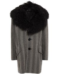 Marc Jacobs Shearling-trimmed Herringbone Wool Coat - Black