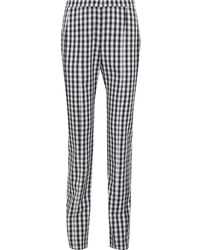 Narciso Rodriguez Gingham Wool-twill Straight-leg Trousers - Black