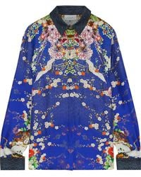 Camilla The Lonely Wild Crystal-embellished Printed Silk-twill Shirt Royal Blue