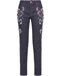 Just Cavalli Embellished Pinstriped Mid-rise Slim-leg Jeans Dark Denim - Blue