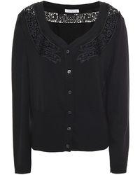 Vivetta Guipure Lace-trimmed Wool Cardigan - Black