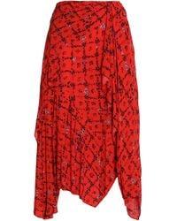 Preen Line Asymmetric Floral-print Crepe De Chine Skirt Tomato Red
