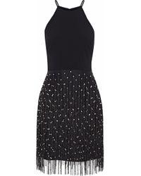 Badgley Mischka - Bead-embellished Fringed Organza And Cady Dress - Lyst