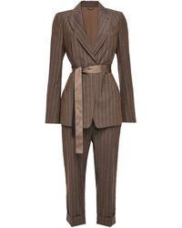 Brunello Cucinelli Bead-embellished Pinstriped Wool Suit Chocolate - Brown