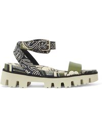 Valentino - Printed Leather Sandals Army Green - Lyst