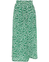 Être Cécile Être Cécile Pleated Printed Silk Crepe De Chine Midi Skirt - Green