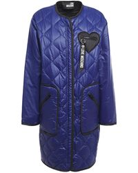 Love Moschino Quilted Shell Coat Indigo - Blue