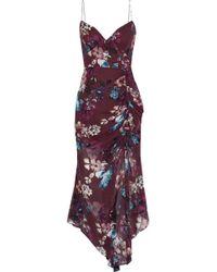 Nicholas - Asymmetric Ruched Floral-print Silk-georgette Midi Dress Burgundy - Lyst