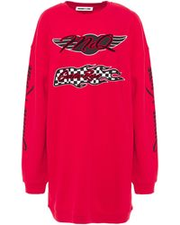 McQ Oversized Flocked Printed French Cotton-terry Dress Red
