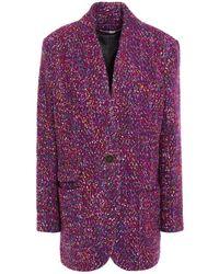 Veronica Beard Crispin Metallic Wool-blend Bouclé Coat Plum - Purple