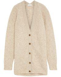Iris & Ink Édelie Ribbed Alpaca, Cotton And Organic Merino Wool-blend Cardigan - Natural