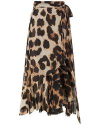 Ganni Ruffled Floral-print Stretch-mesh Midi Wrap Skirt Animal Print - Multicolour