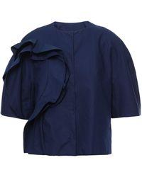 Delpozo Ruffled Cotton-poplin Jacket Navy - Blue