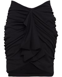 Redemption Ruched Draped Crepe Mini Skirt - Black