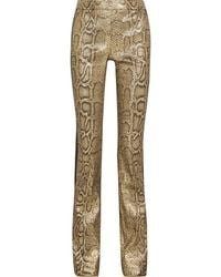 Roberto Cavalli Satin-trimmed Metallic Snake-print Cotton-blend Straight-leg Trousers - Black