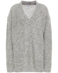 Ganni Melierter pullover aus gebürstetem strick - Grau