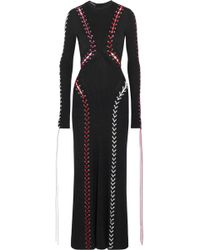 Alexander McQueen - Leather Lace-up Ribbed-knit Maxi Dress - Lyst
