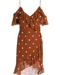 Nicholas - Cold-shoulder Ruffle-trimmed Polka-dot Silk-chiffon Dress - Lyst