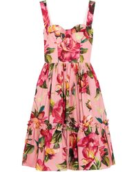 Dolce & Gabbana - Flared Floral-print Cotton-poplin Dress - Lyst
