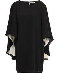 Halston Cape-effect Cady Mini Dress Black