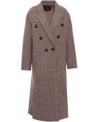 Maje Double-breasted Wool Coat Light Brown