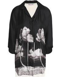 Orlebar Brown Printed Silk-twill And Cotton-jersey Shirt - Black