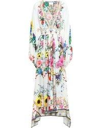 Camilla Crystal-embellished Floral-print Silk Crepe De Chine Kaftan Ivory - White
