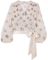Temperley London Starlet Satin-trimmed Sequined Georgette Wrap Blouse Lilac - Purple