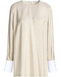 Brunello Cucinelli - Striped Silk Crepe De Chine Blouse - Lyst