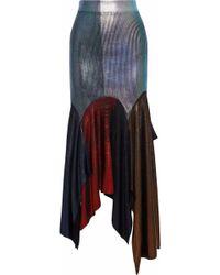 Christopher Kane - Metallic Coated Asymmetric Ribbed-knit Midi Skirt - Lyst