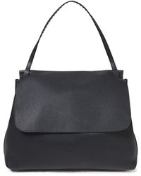 The Row Top Handle 14 Textured-leather Shoulder Bag Black