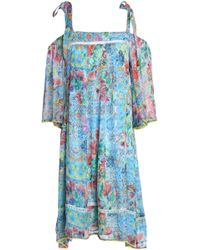 Matthew Williamson - Cold-shoulder Printed Silk Dress - Lyst