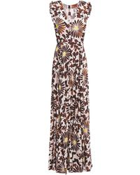 Missoni - Ruffle-trimmed Floral-print Mousseline Maxi Dress Pastel Pink - Lyst