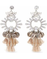 Elizabeth Cole - Silver-tone, Swarovski Crystal, Bead And Tassel Earrings - Lyst