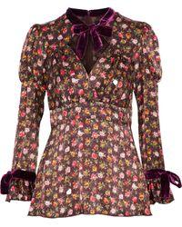 Anna Sui Velvet-trimmed Floral-print Silk Blouse - Multicolour