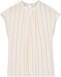 Joie Tyanna Gathered Striped Voile Top Pastel Pink