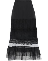 Jonathan Simkhai - Panelled Silk, Lace And Tulle Midi Skirt - Lyst