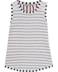 Cotton by Autumn Cashmere Striped Cotton-jersey Tank - White
