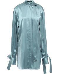 ROKH Open-back Silk-satin Blouse Teal - Blue
