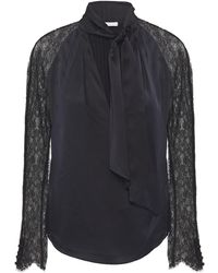 Jonathan Simkhai Wrap-effect Chantilly Lace-paneled Silk-blend Satin Blouse - Black