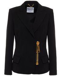 Moschino Zip-detailed Crepe Blazer - Black