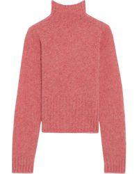 Victoria Beckham Cropped Mélange Brushed-wool Turtleneck Sweater - Pink