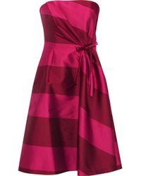 Carolina Herrera - Woman Strapless Bow-embellished Striped Satin Dress Claret - Lyst