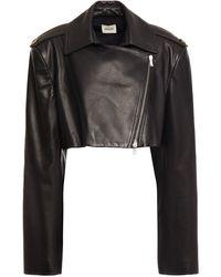 Khaite Cropped Leather Jacket - Black