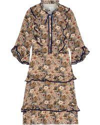 Mikael Aghal Velvet-trimmed Ruffled Floral-print Crepe De Chine Dress - Multicolour