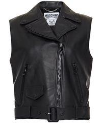 Moschino Belted Embellished Leather Vest - Black