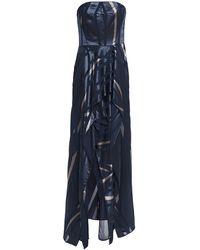 Halston - Strapless Draped Burnout Satin Gown - Lyst